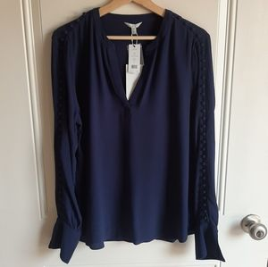 NWT Joie Navy Button Sleeve Abe Blouse Size Large